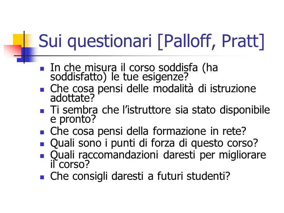 Sui questionari [Palloff, Pratt] In che misura il corso soddisfa (ha soddisfatto) le tue esigenze.