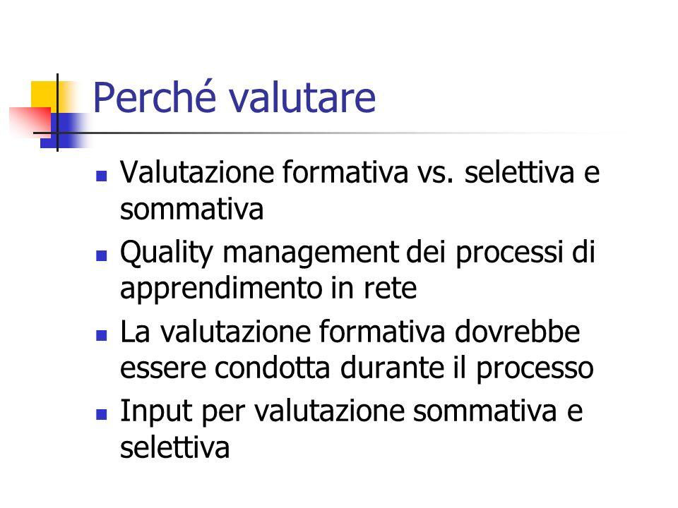 Perché valutare Valutazione formativa vs.