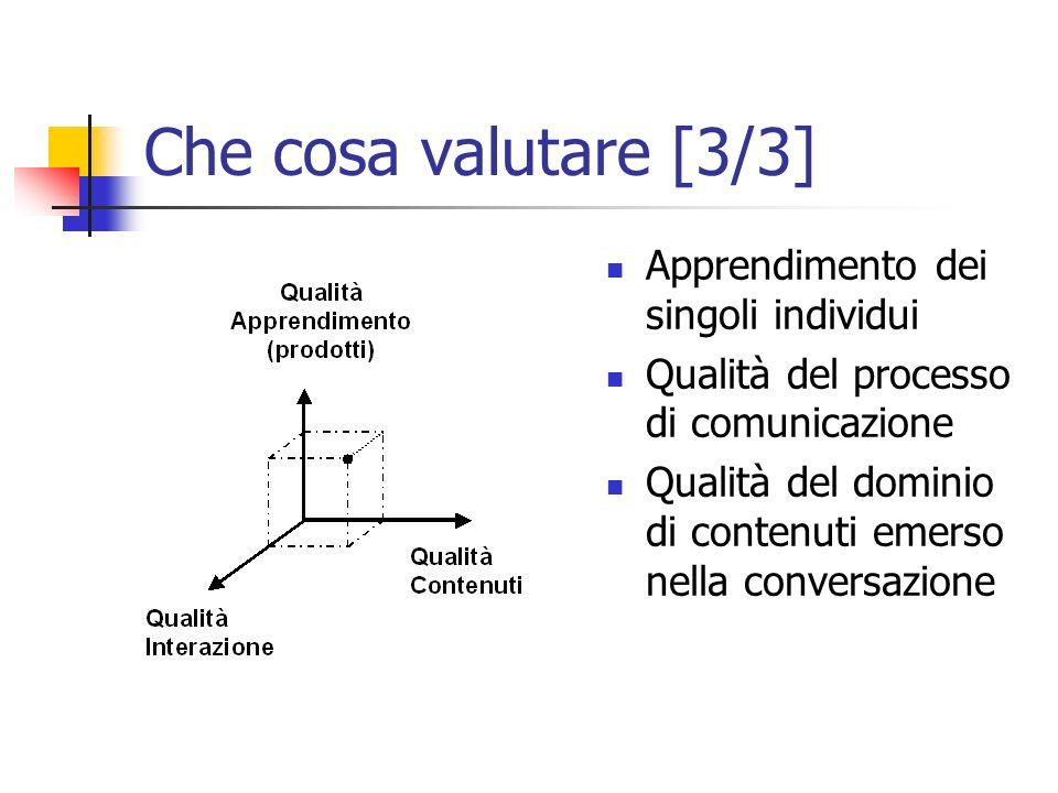 Che cosa valutare [3/3] Apprendimento dei singoli individui Qualità del processo di comunicazione Qualità del dominio di contenuti emerso nella conversazione