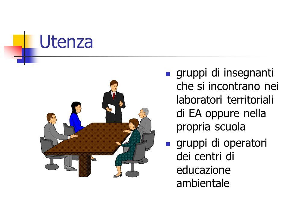 Utenza gruppi di insegnanti che si incontrano nei laboratori territoriali di EA oppure nella propria scuola gruppi di operatori dei centri di educazione ambientale