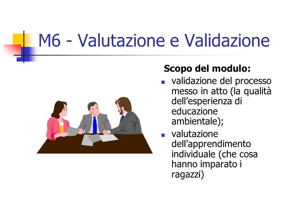 M6 - Valutazione e Validazione Scopo del modulo: validazione del processo messo in atto (la qualità dellesperienza di educazione ambientale); valutazione dellapprendimento individuale (che cosa hanno imparato i ragazzi)