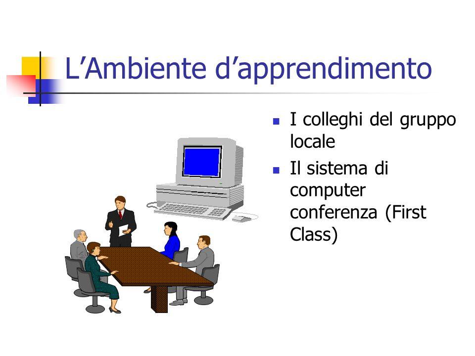 LAmbiente dapprendimento I colleghi del gruppo locale Il sistema di computer conferenza (First Class)