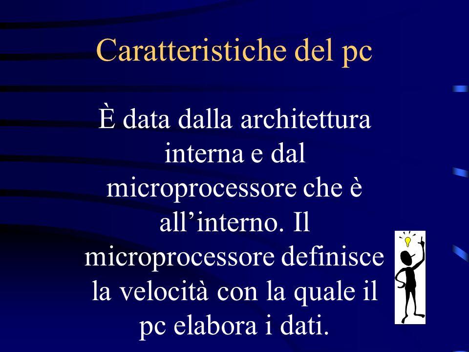 Caratteristiche del pc È data dalla architettura interna e dal microprocessore che è allinterno.