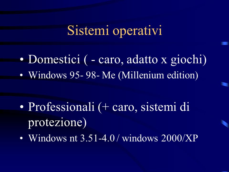Sistemi operativi Domestici ( - caro, adatto x giochi) Windows 95- 98- Me (Millenium edition) Professionali (+ caro, sistemi di protezione) Windows nt 3.51-4.0 / windows 2000/XP