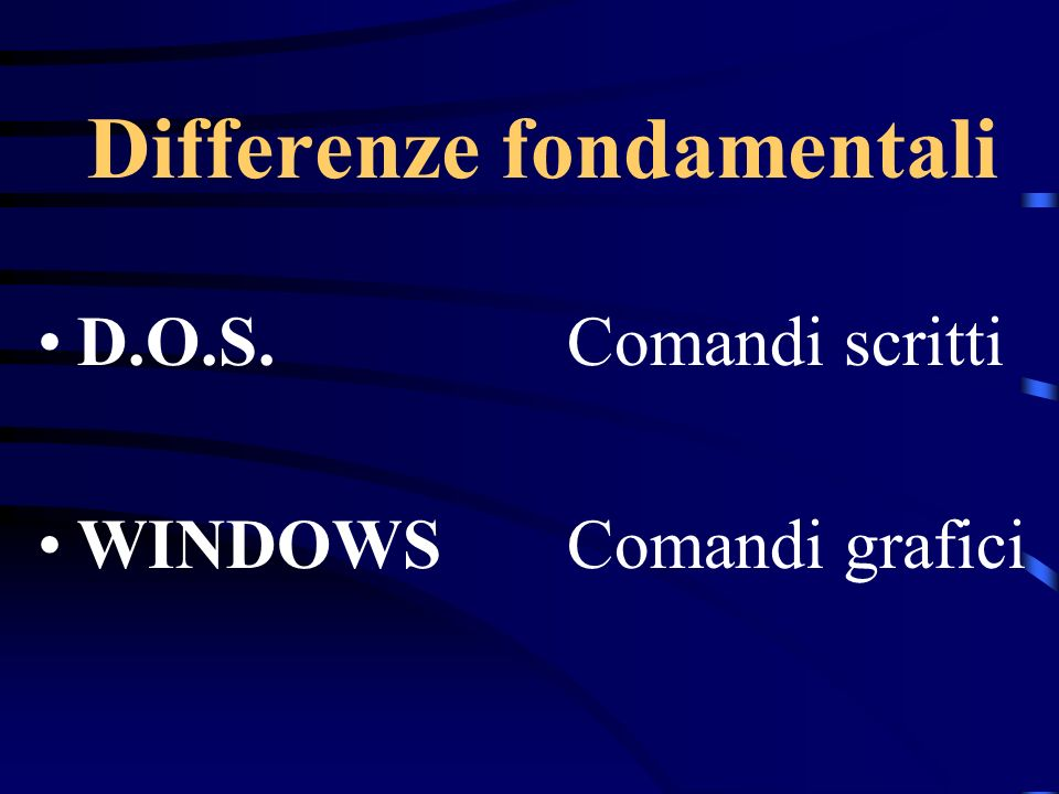 Differenze fondamentali D.O.S.Comandi scritti WINDOWSComandi grafici