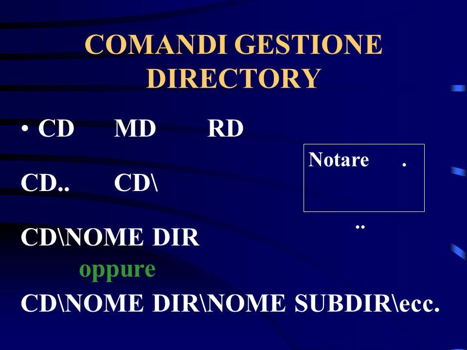 COMANDI GESTIONE DIRECTORY CDMDRD CD..CD\ CD\NOME DIR oppure CD\NOME DIR\NOME SUBDIR\ecc. Notare...
