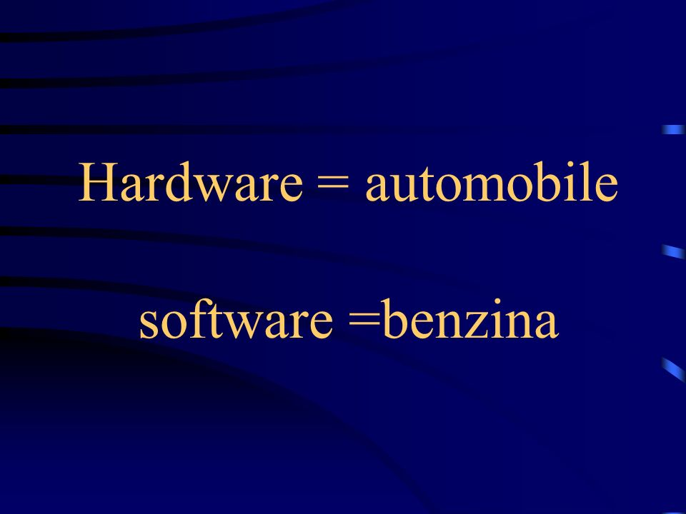Hardware = automobile software =benzina
