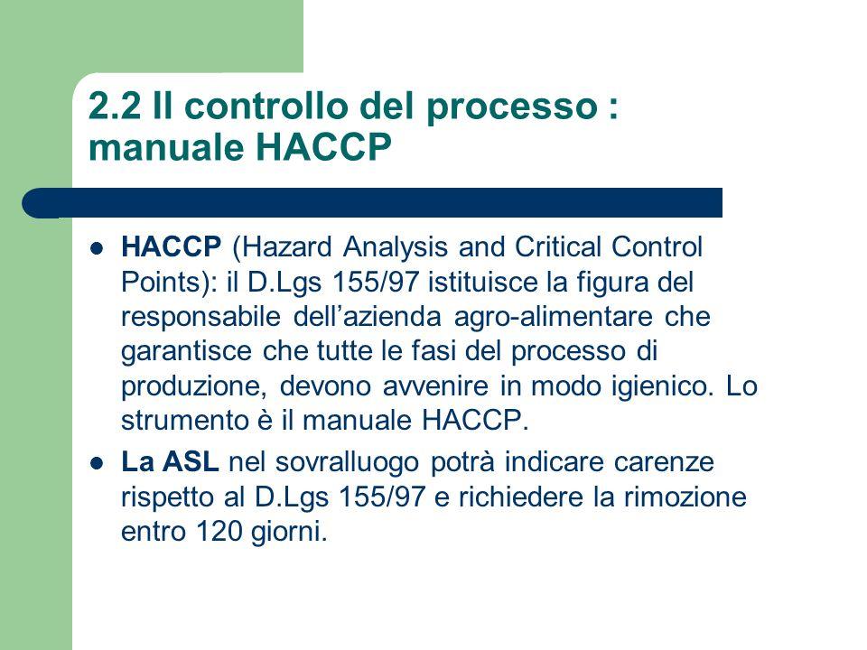 2.2 Il controllo del processo : manuale HACCP HACCP (Hazard Analysis and Critical Control Points): il D.Lgs 155/97 istituisce la figura del responsabi
