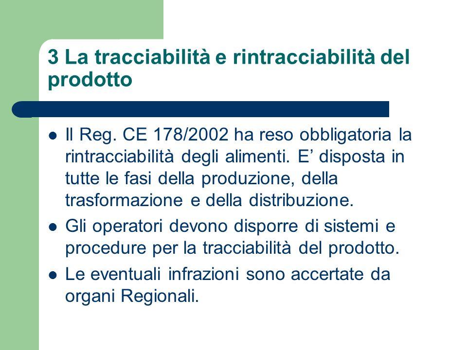 3 La tracciabilità e rintracciabilità del prodotto Il Reg. CE 178/2002 ha reso obbligatoria la rintracciabilità degli alimenti. E disposta in tutte le
