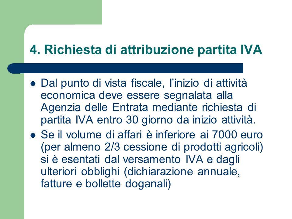 4. Richiesta di attribuzione partita IVA Dal punto di vista fiscale, linizio di attività economica deve essere segnalata alla Agenzia delle Entrata me