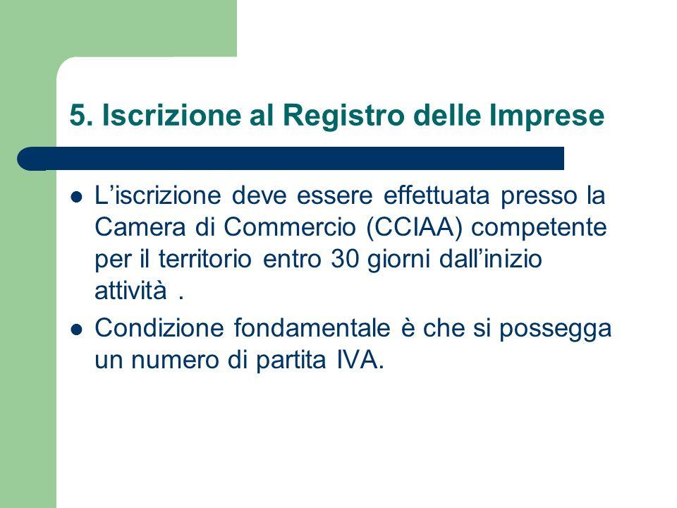 5. Iscrizione al Registro delle Imprese Liscrizione deve essere effettuata presso la Camera di Commercio (CCIAA) competente per il territorio entro 30