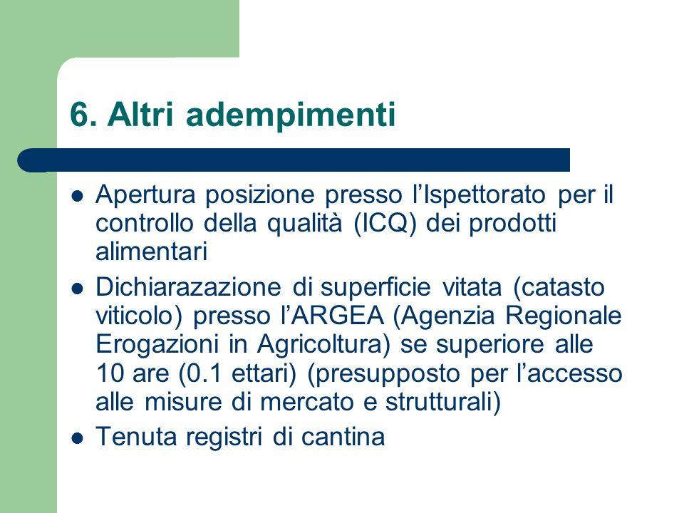 6. Altri adempimenti Apertura posizione presso lIspettorato per il controllo della qualità (ICQ) dei prodotti alimentari Dichiarazazione di superficie