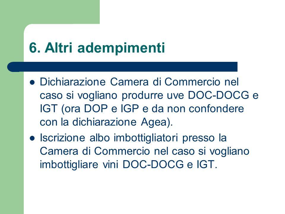 6. Altri adempimenti Dichiarazione Camera di Commercio nel caso si vogliano produrre uve DOC-DOCG e IGT (ora DOP e IGP e da non confondere con la dich