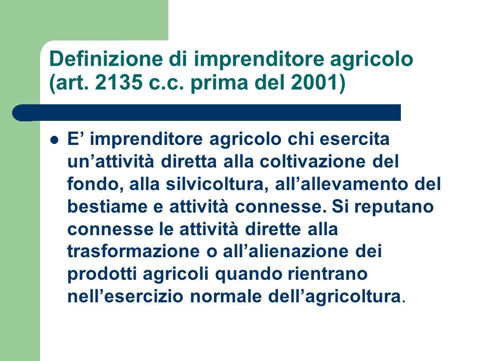 Definizione di imprenditore agricolo (art. 2135 c.c. prima del 2001) E imprenditore agricolo chi esercita unattività diretta alla coltivazione del fon