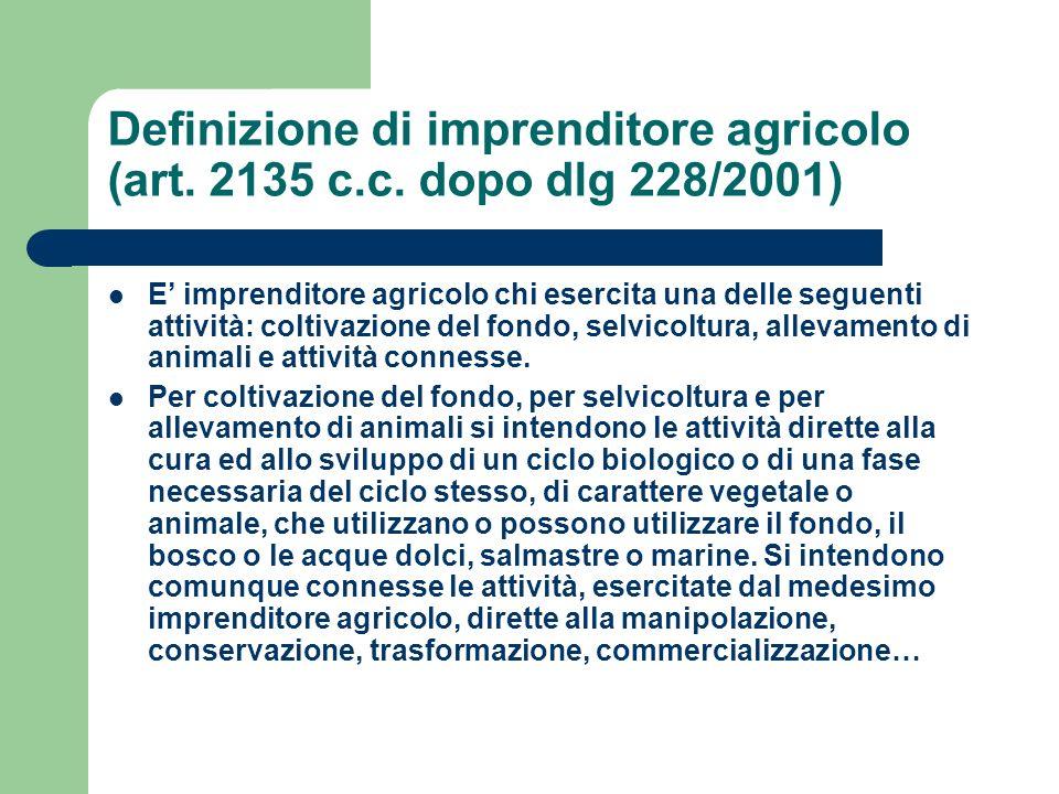 Definizione di imprenditore agricolo (art. 2135 c.c. dopo dlg 228/2001) E imprenditore agricolo chi esercita una delle seguenti attività: coltivazione