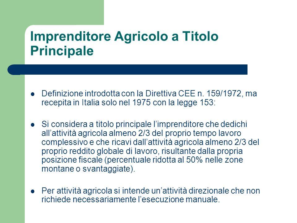 Imprenditore Agricolo a Titolo Principale Definizione introdotta con la Direttiva CEE n. 159/1972, ma recepita in Italia solo nel 1975 con la legge 15