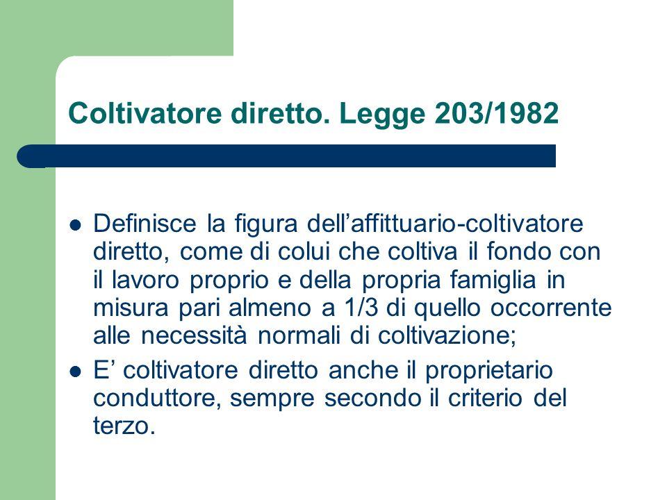 Coltivatore diretto. Legge 203/1982 Definisce la figura dellaffittuario-coltivatore diretto, come di colui che coltiva il fondo con il lavoro proprio