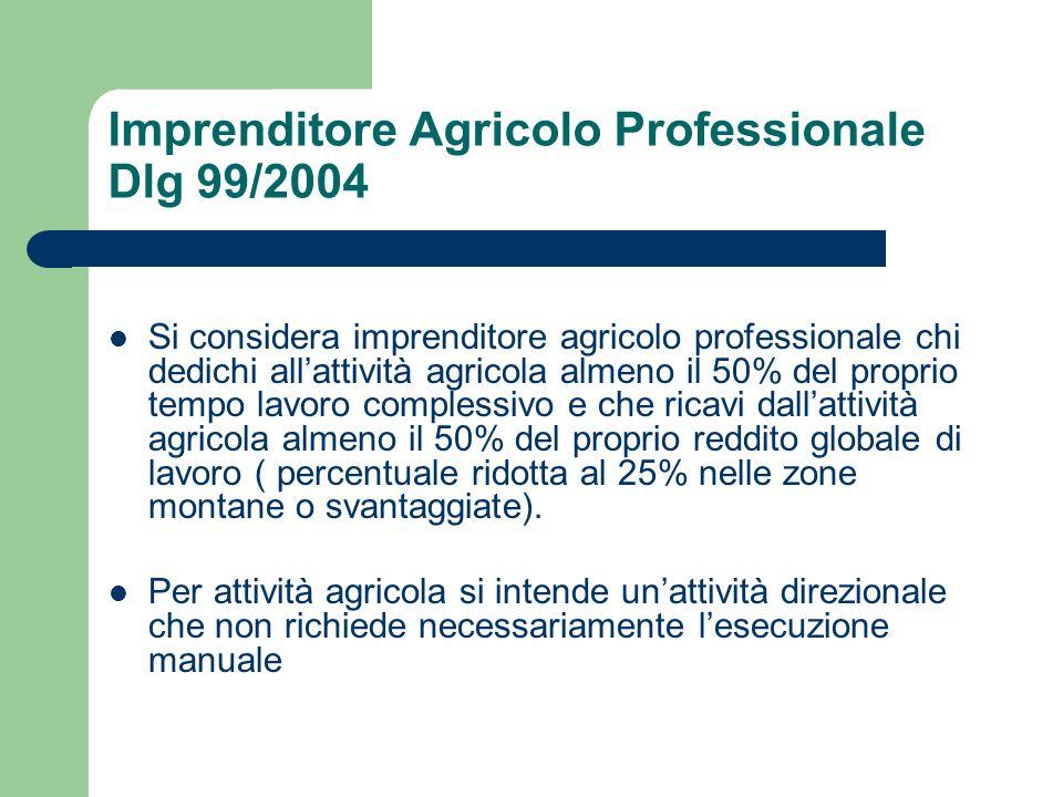 Imprenditore Agricolo Professionale Dlg 99/2004 Si considera imprenditore agricolo professionale chi dedichi allattività agricola almeno il 50% del pr