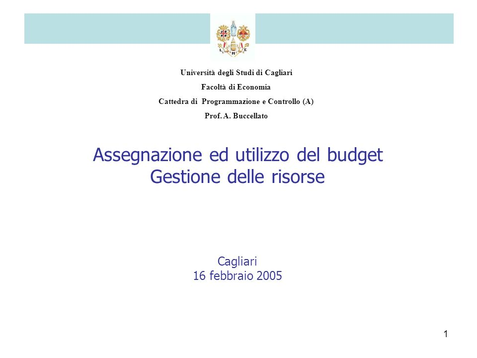1 Università degli Studi di Cagliari Facoltà di Economia Cattedra di Programmazione e Controllo (A) Prof. A. Buccellato Assegnazione ed utilizzo del b