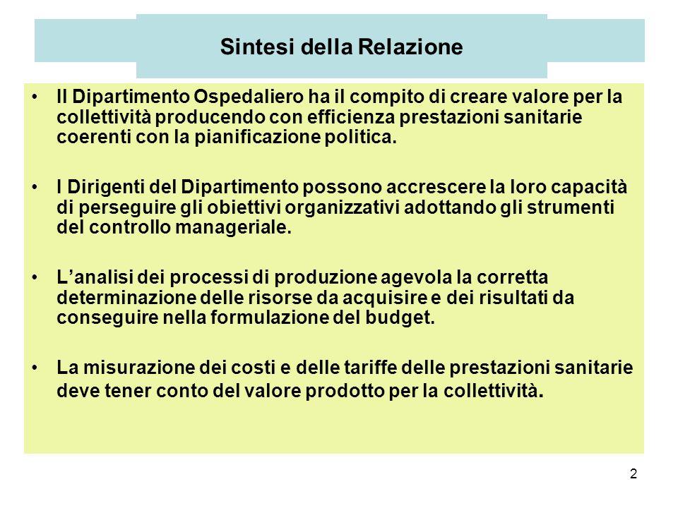 2 Sintesi della Relazione Il Dipartimento Ospedaliero ha il compito di creare valore per la collettività producendo con efficienza prestazioni sanitar