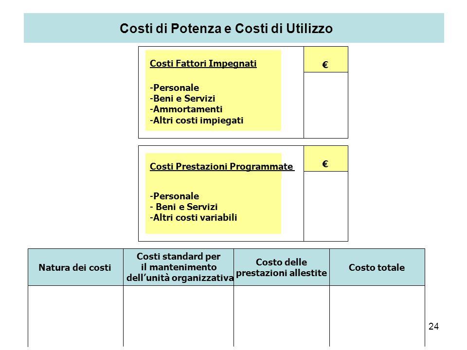 24 Costi di Potenza e Costi di Utilizzo Natura dei costi Costi standard per il mantenimento dellunità organizzativa Costo delle prestazioni allestite