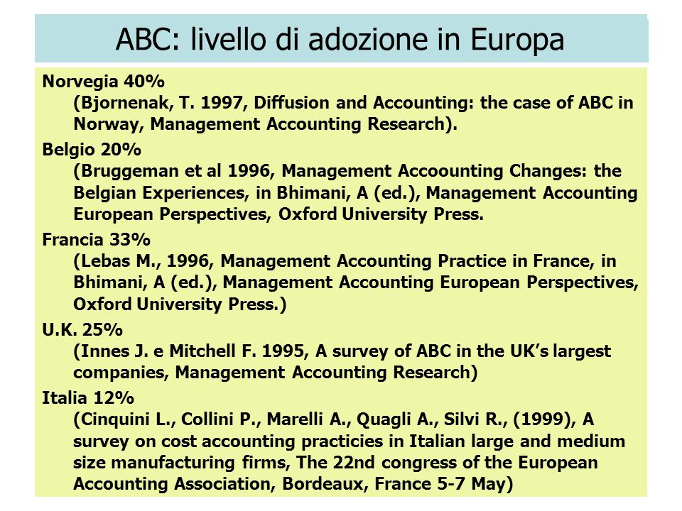 28 ABC: livello di adozione in Europa Norvegia 40% (Bjornenak, T. 1997, Diffusion and Accounting: the case of ABC in Norway, Management Accounting Res