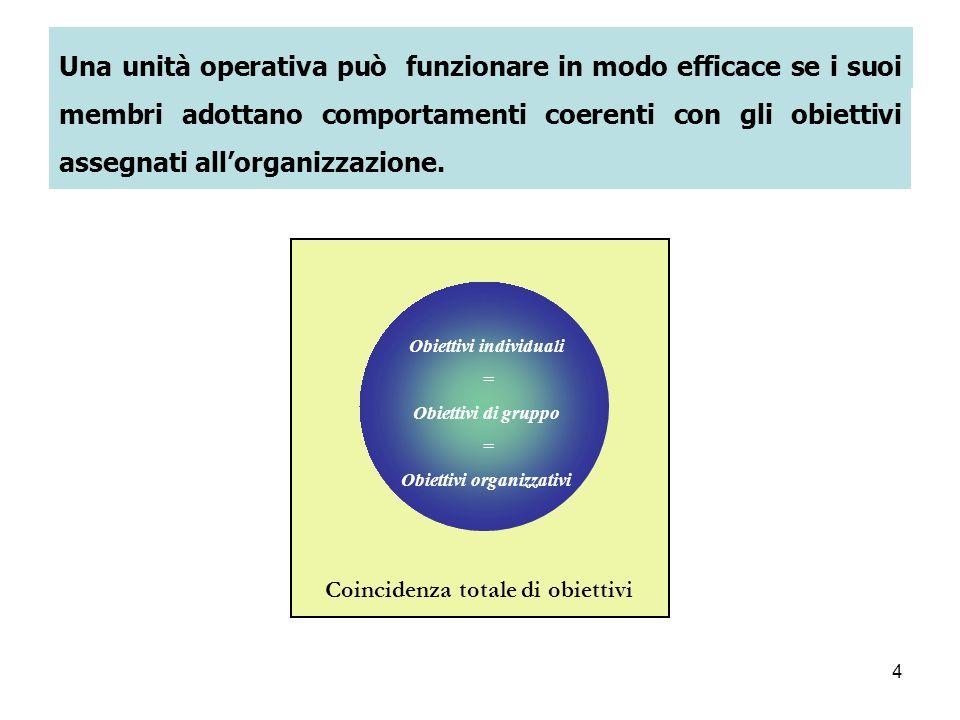 4 Una unità operativa può funzionare in modo efficace se i suoi membri adottano comportamenti coerenti con gli obiettivi assegnati allorganizzazione.