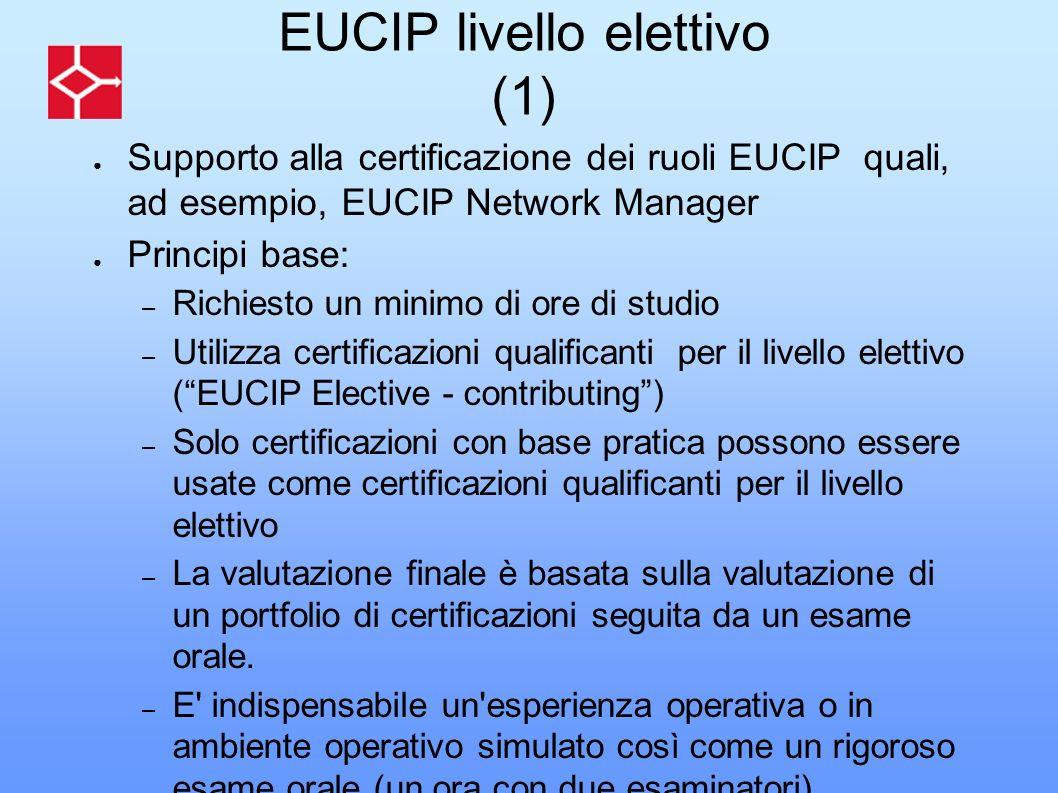 EUCIP livello elettivo (1) Supporto alla certificazione dei ruoli EUCIP quali, ad esempio, EUCIP Network Manager Principi base: – Richiesto un minimo