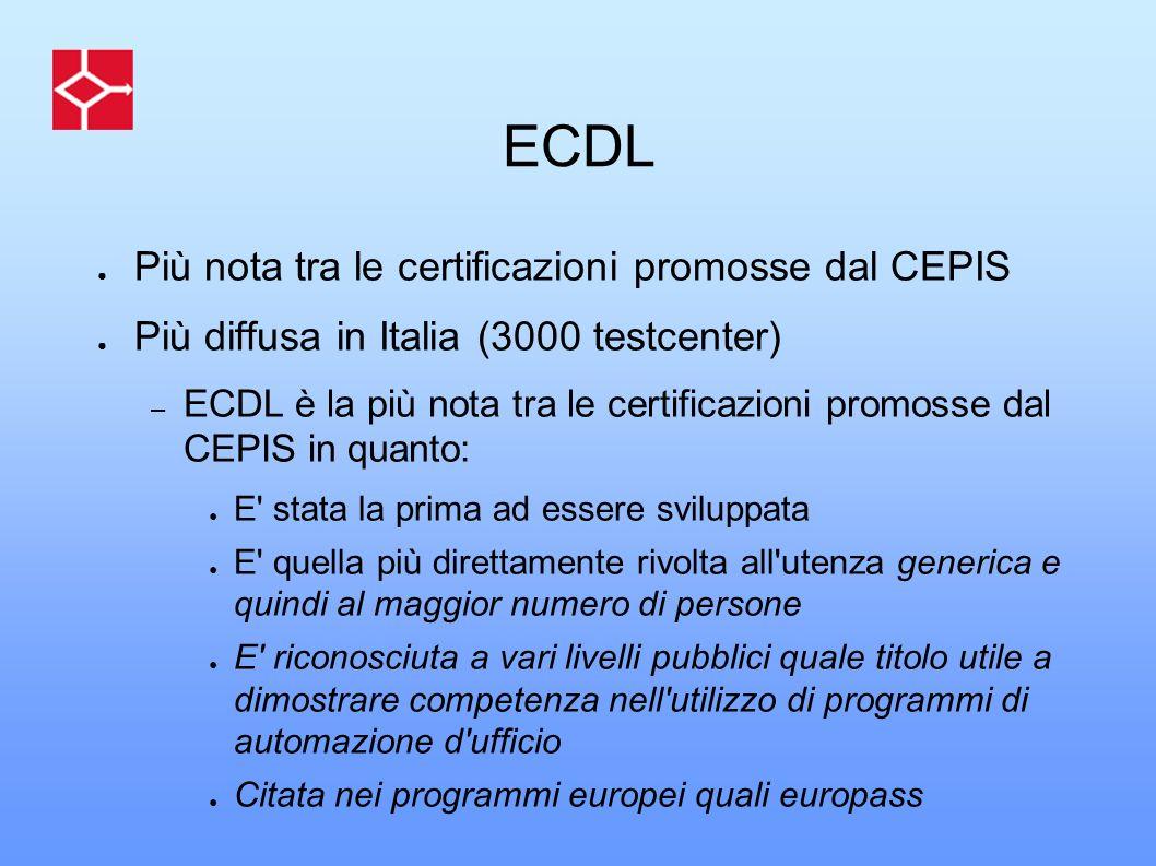 ECDL Più nota tra le certificazioni promosse dal CEPIS Più diffusa in Italia (3000 testcenter) – ECDL è la più nota tra le certificazioni promosse dal