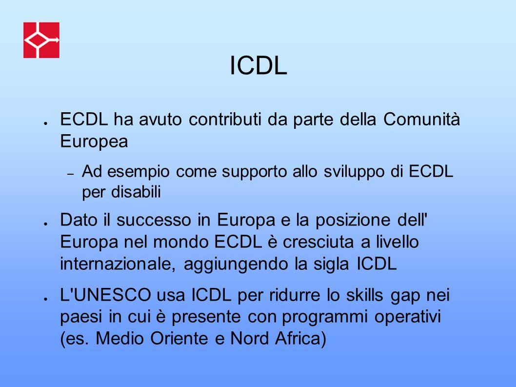 ICDL ECDL ha avuto contributi da parte della Comunità Europea – Ad esempio come supporto allo sviluppo di ECDL per disabili Dato il successo in Europa