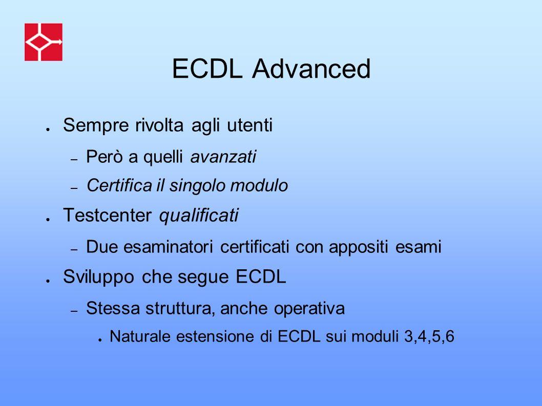 ECDL Advanced Sempre rivolta agli utenti – Però a quelli avanzati – Certifica il singolo modulo Testcenter qualificati – Due esaminatori certificati c