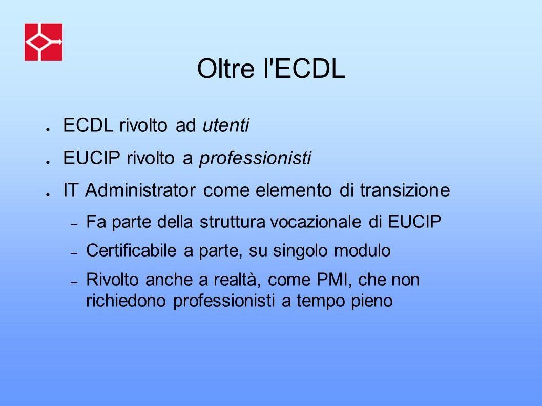 Oltre l'ECDL ECDL rivolto ad utenti EUCIP rivolto a professionisti IT Administrator come elemento di transizione – Fa parte della struttura vocazional