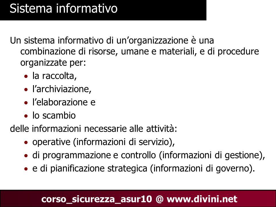 00 AN 15 corso_sicurezza_asur10 @ www.divini.net Sistema informativo Un sistema informativo di unorganizzazione è una combinazione di risorse, umane e