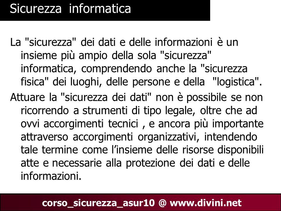 00 AN 2 corso_sicurezza_asur10 @ www.divini.net Sicurezza informatica La
