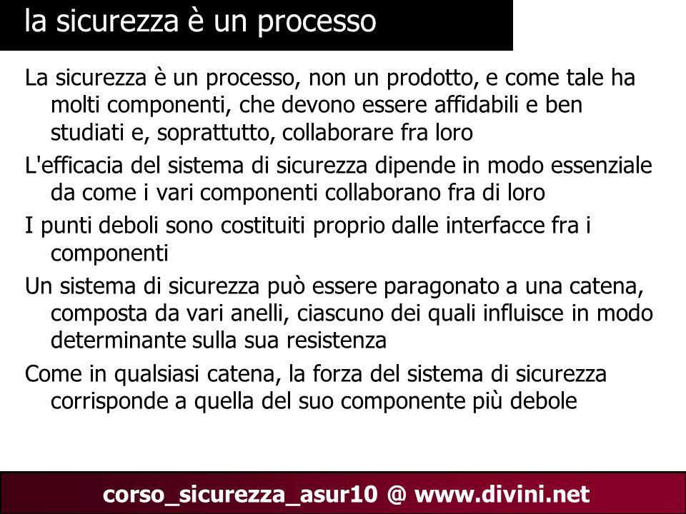 00 AN 22 corso_sicurezza_asur10 @ www.divini.net la sicurezza è un processo La sicurezza è un processo, non un prodotto, e come tale ha molti componen