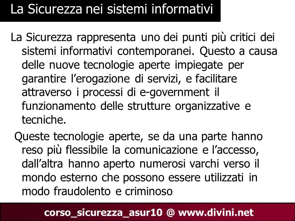 00 AN 4 corso_sicurezza_asur10 @ www.divini.net La Sicurezza nei sistemi informativi La Sicurezza rappresenta uno dei punti più critici dei sistemi in