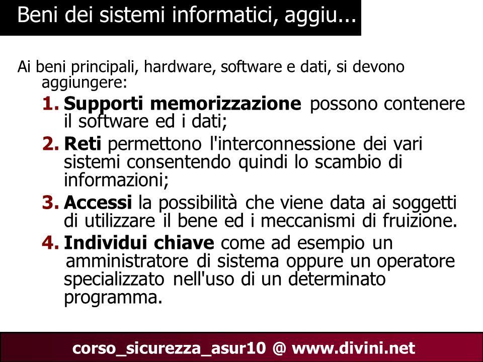 00 AN 9 corso_sicurezza_asur10 @ www.divini.net Beni dei sistemi informatici, aggiu... Ai beni principali, hardware, software e dati, si devono aggiun