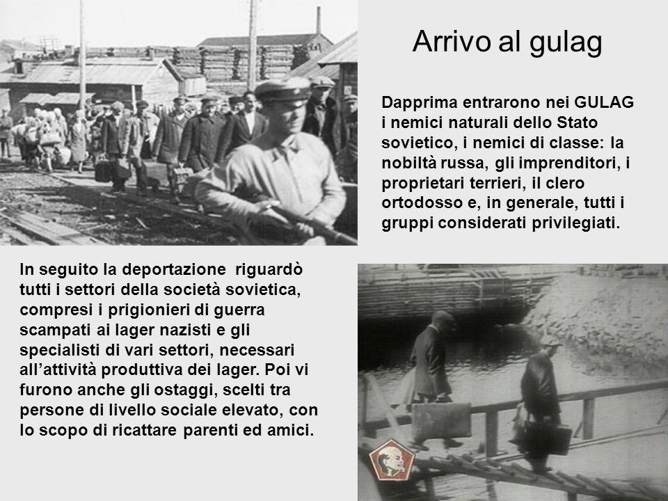 Arrivo al gulag In seguito la deportazione riguardò tutti i settori della società sovietica, compresi i prigionieri di guerra scampati ai lager nazist