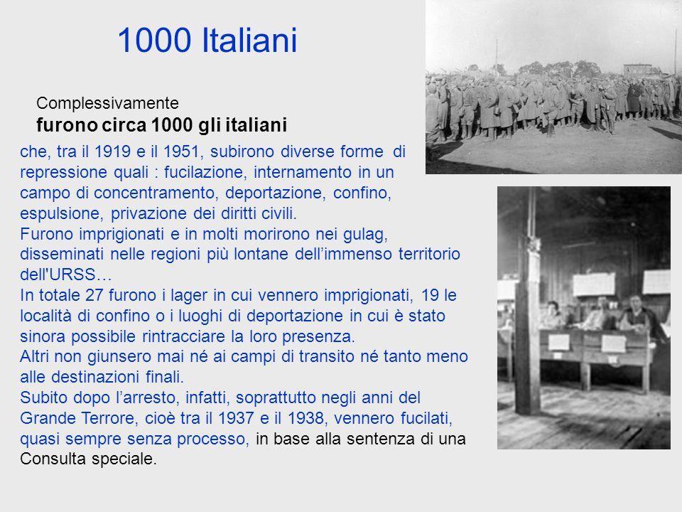 1000 Italiani che, tra il 1919 e il 1951, subirono diverse forme di repressione quali : fucilazione, internamento in un campo di concentramento, depor