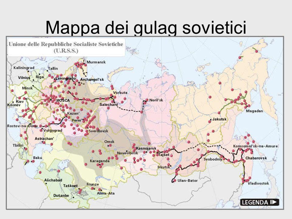 I gulag Disseminati nei luoghi più inospitali dellURSS, dalle isole Solovki ( mar Bianco) alla Kolyma, una zona mineraria siberiana, i lager sovietici furono 384.