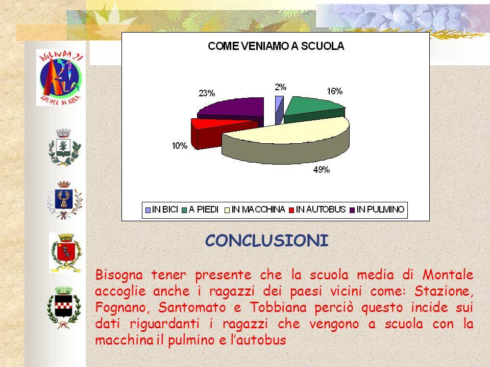 CONCLUSIONI Bisogna tener presente che la scuola media di Montale accoglie anche i ragazzi dei paesi vicini come: Stazione, Fognano, Santomato e Tobbi