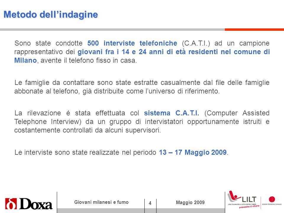 4 Giovani milanesi e fumo Maggio 2009 Metodo dellindagine Sono state condotte 500 interviste telefoniche (C.A.T.I.) ad un campione rappresentativo dei giovani fra i 14 e 24 anni di età residenti nel comune di Milano, avente il telefono fisso in casa.
