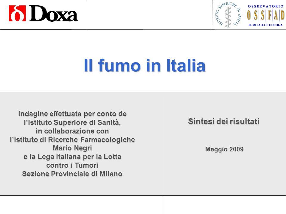Il fumo in Italia 12 Maggio 2009 Totale % Meno di 5 sigarette al giorno11,6 Da 5 a 9 sigarette al giorno17,2 Da 10 a 14 sigarette al giorno22,8 Da 15 a 19 sigarette al giorno12,4 Da 20 a 24 sigarette al giorno26,1 25 sigarette al giorno o più 9,9 CONSUMO MEDIO GIORNALIERO 200914,1 CONSUMO MEDIO GIORNALIERO 200814,4 CONSUMO MEDIO GIORNALIERO 200714,1 CONSUMO MEDIO GIORNALIERO 200613,6 CONSUMO MEDIO GIORNALIERO 200514,0 CONSUMO MEDIO GIORNALIERO 200414,8 CONSUMO MEDIO GIORNALIERO 200316,1 CONSUMO MEDIO GIORNALIERO 200216,8 Consumo medio di sigarette al giorno (Analisi sui fumatori attuali)