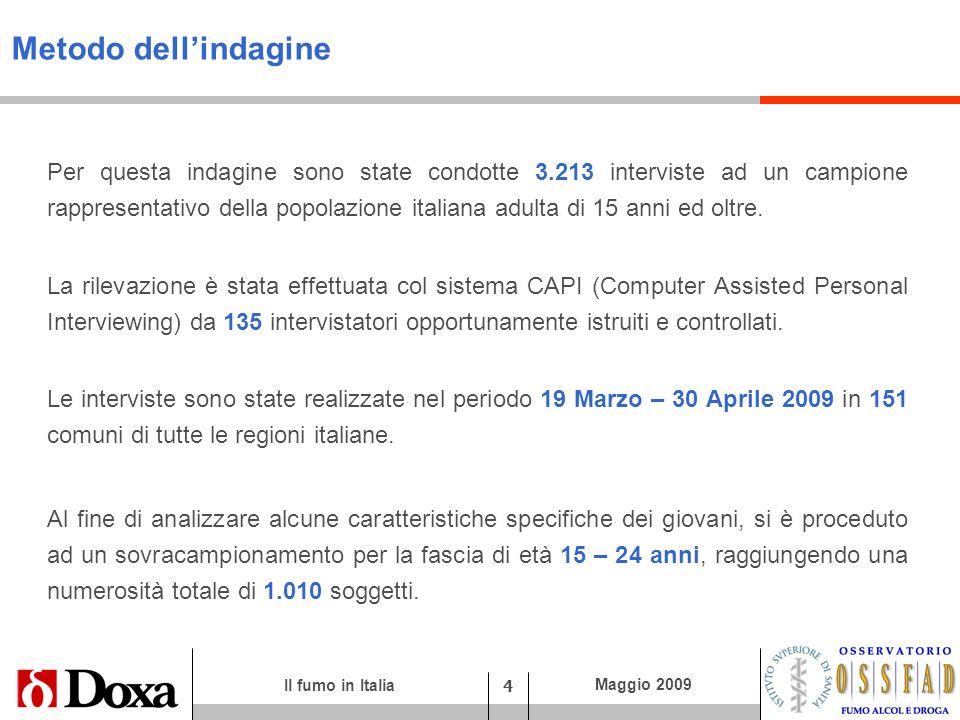 Il fumo in Italia 4 Maggio 2009 Metodo dellindagine Per questa indagine sono state condotte 3.213 interviste ad un campione rappresentativo della popo