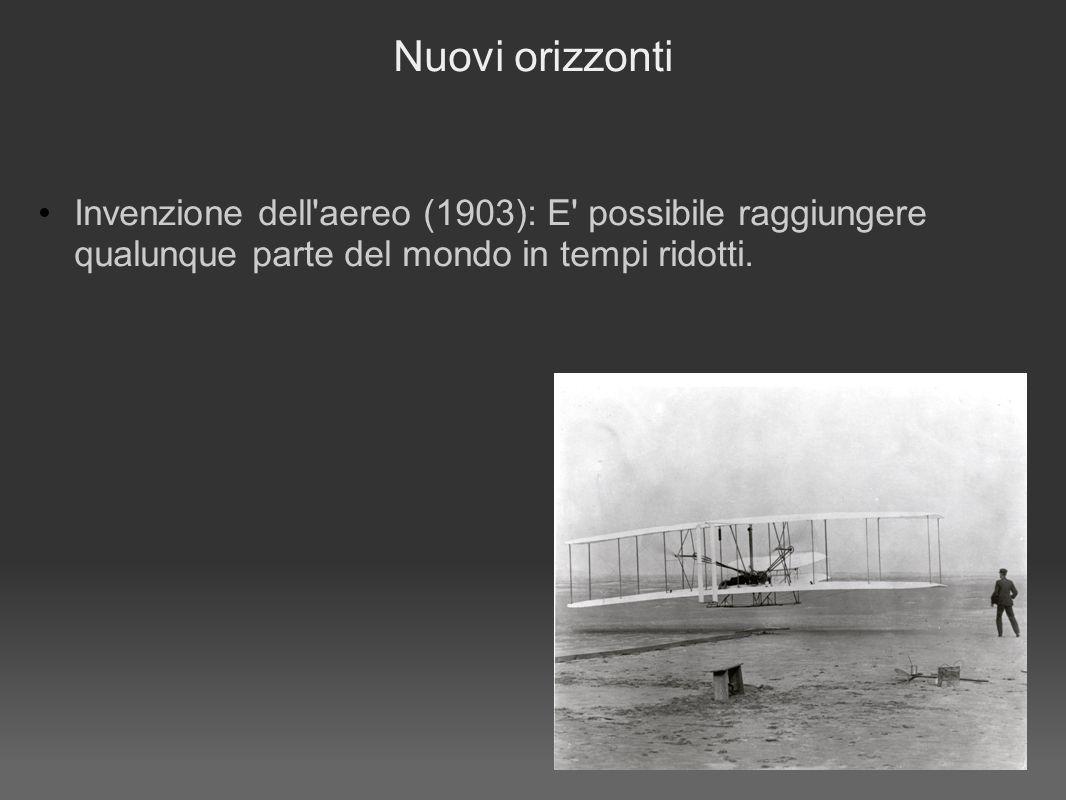 Nuovi orizzonti Invenzione dell aereo (1903): E possibile raggiungere qualunque parte del mondo in tempi ridotti.
