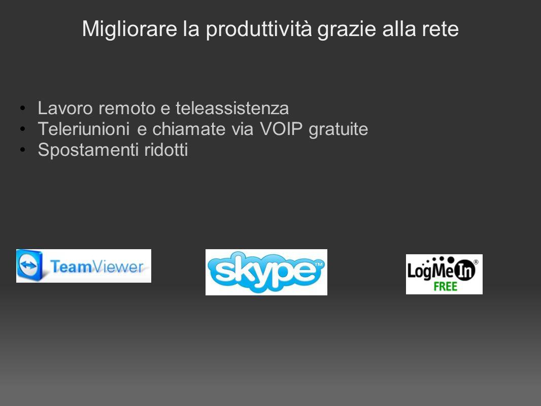 Migliorare la produttività grazie alla rete Lavoro remoto e teleassistenza Teleriunioni e chiamate via VOIP gratuite Spostamenti ridotti
