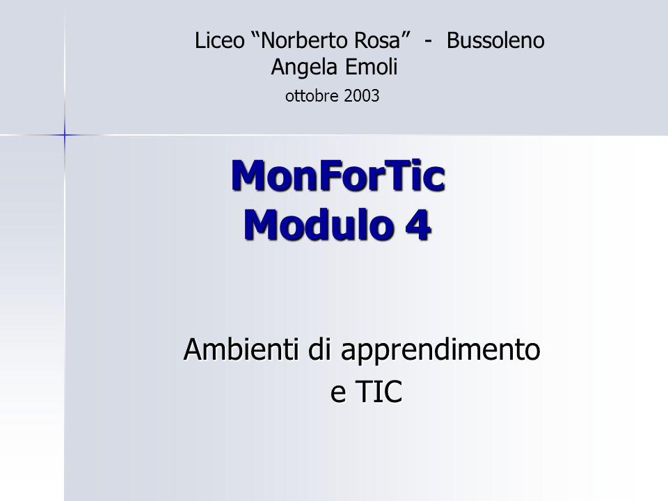 MonForTic Modulo 4 Ambienti di apprendimento e TIC e TIC Liceo Norberto Rosa - Bussoleno Angela Emoli ottobre 2003