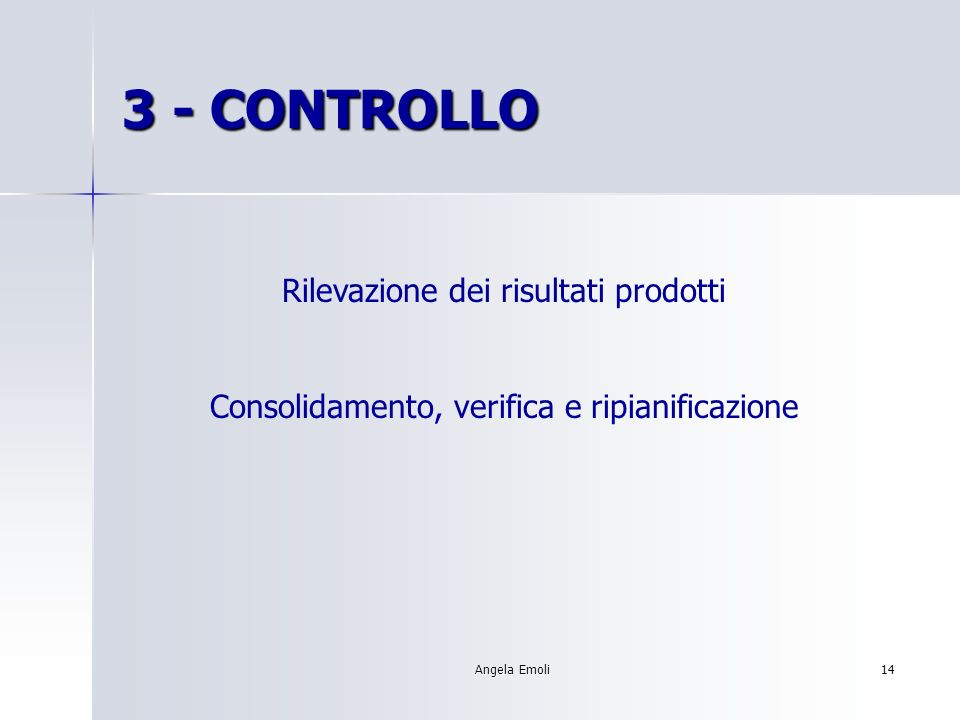Angela Emoli13 2 - PIANIFICAZIONE Definire: 1. Scomposizione del lavoro 2. Piano di sviluppo 3. Programmazione 4. Budget economico 5. Organigramma di