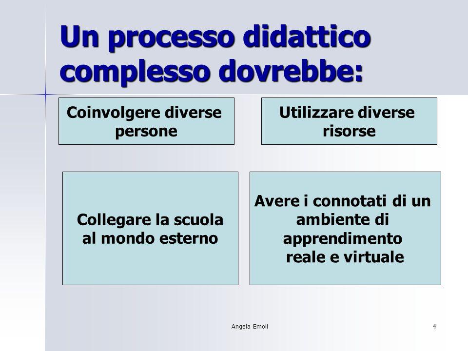 Angela Emoli4 Un processo didattico complesso dovrebbe: Coinvolgere diverse persone Utilizzare diverse risorse Collegare la scuola al mondo esterno Avere i connotati di un ambiente di apprendimento reale e virtuale