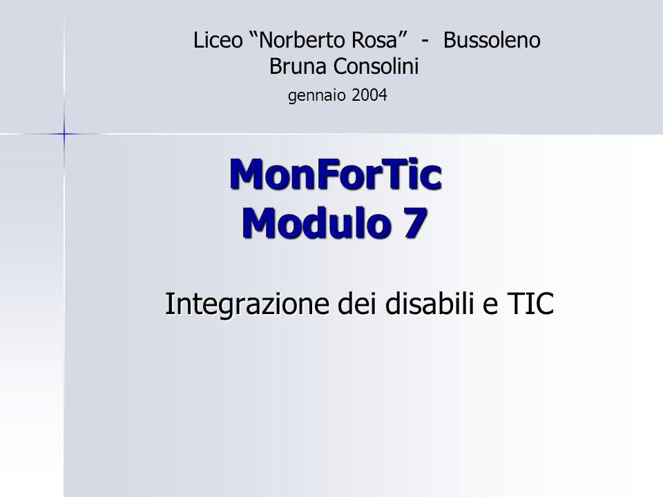 MonForTic Modulo 7 Integrazione dei disabili e TIC Liceo Norberto Rosa - Bussoleno Bruna Consolini gennaio 2004